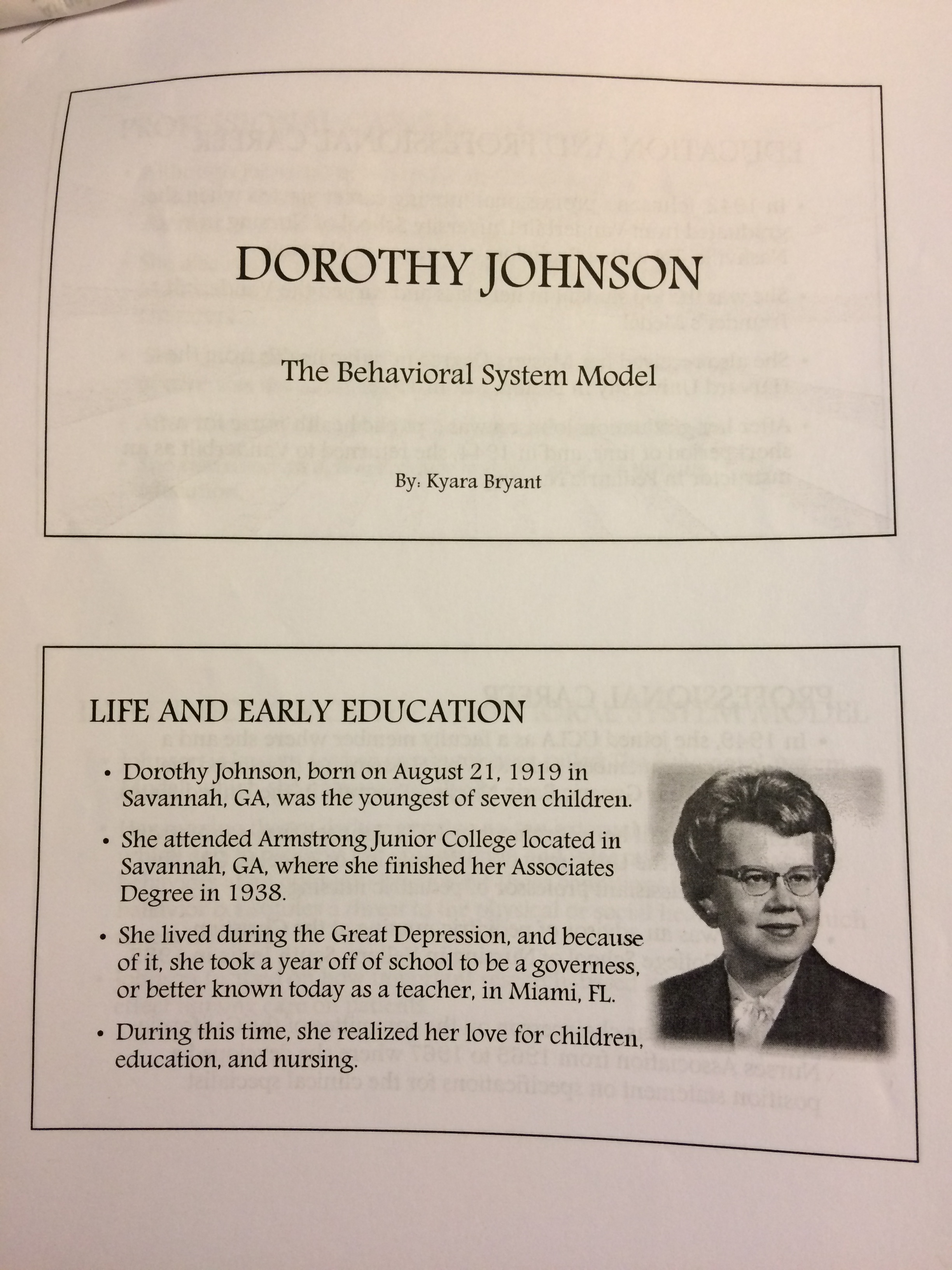 dorothy johnson behavioral system